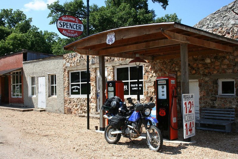 Restored Gas Station on Historic Route 66 in Spencer Missouri